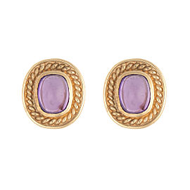 14K Yellow Gold Cabochon Amysthest Disc Earrings