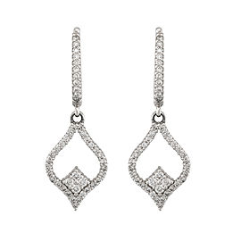 14K White Gold 0.90ctw. Diamond Drop Earrings