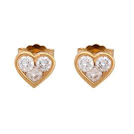 14K Yellow Gold 0.18ctw. Diamond Heart Stud Earrings
