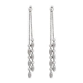 14K White Gold Multistrand Textured Drop Earrings