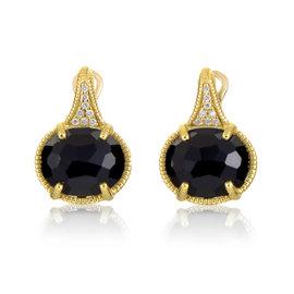 Judith Ripka 18K Yellow Gold Diamond & Smokey Quartz Earrings