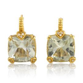 Judith Ripka 18K Yellow Gold Prasiolite & Diamond Earrings