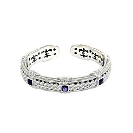 Judith Ripka 925 Sterling Silver Diamonique Stones & Amethyst Bangle Bracelet