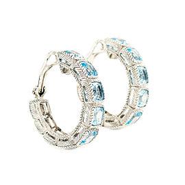 Judith Ripka Sterling Silver & Sky Blue Topaz Hoop Earrings
