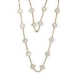 Van Cleef & Arpels Alhambra Yellow Gold Mother of Pearl 20 Motif Necklace VCARA42100