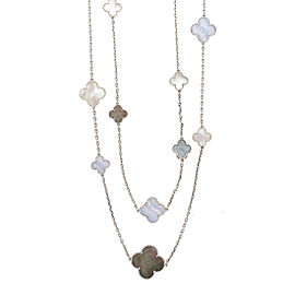 Van Cleef & Arpels Magic Alhambra 18K White Gold Black & White Mother of Pearl & Blue Lace Agate Station Necklace