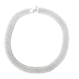 Versani Sterling Silver Mesh Link Necklace