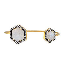 Yellow gold Prive hexagon open bangle