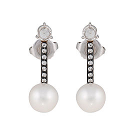 White gold diamond and pearl bar studs