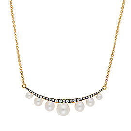 Yellow gold Prive pearl and diamond cresent necklace