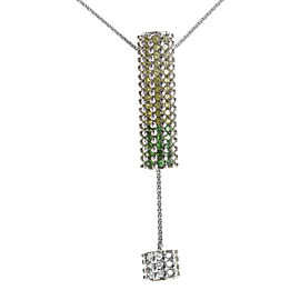 Koesia 18K White Gold Green Gemstone Pendant Necklace