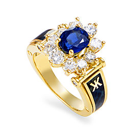Korloff 18K Yellow Gold 1ct Diamond, 2ct Sapphire & Enamel Ring Sz 6