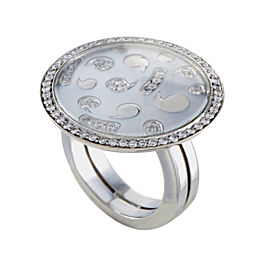 Korloff 18K White Gold with 0.82ct Diamond and Mother Of Pearl Round Ring Size 7.0