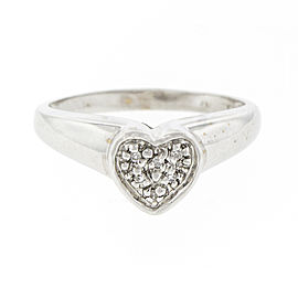 14K White Gold and Diamond Heart Shape Ring