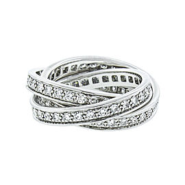 Cartier 18K White Gold and Diamonds Trinity Ring Size 5