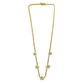 18K Yellow Gold and Diamond Flower Station Necklace