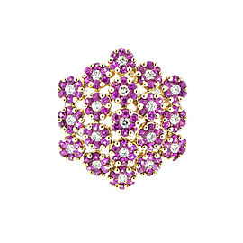 18K White Gold Diamond and Pink Sapphire Flower Cluster Ring