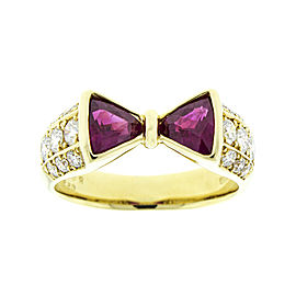 18K Yellow Gold Rubies and Diamond Bow Tie Ring