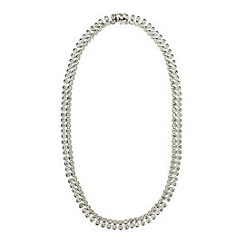 Platinum and Diamond Two Row Riveira Necklace