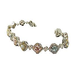 11.50 Carat 13 Natural Multicolored Diamond Bracelet In Platinum