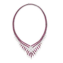 Zydo 18K White Gold Ruby and Diamond Necklace