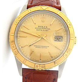Mens Rolex Two-Tone 18K/SS Datejust Turn-O-Graph Gold Tapestry 16263