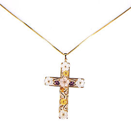 14K Yellow Gold Multi Colored Mother Of Pearl Flower Cross & Box Chain Necklace