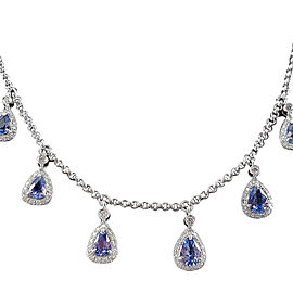 18K White Gold Sapphire and 1 1/2ct Diamond Necklace