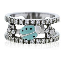 Aaron Basha 18K White Gold and Diamond Ladybug Ring Size 6.25