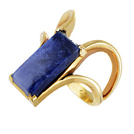 Ilias Lalaounis 18K Yellow Gold Rectangular Sodalite Ring Size 6.25