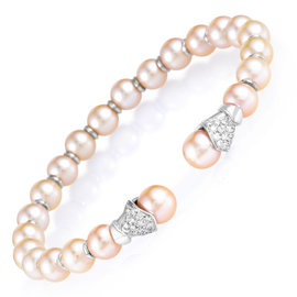 Lani Fratelli 18K White Gold Diamond & Pearl Bangle Cuff Bracelet