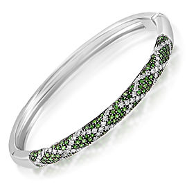 Lani Fratelli 18K White Gold Diamond & Tsavorite Bangle Bracelet