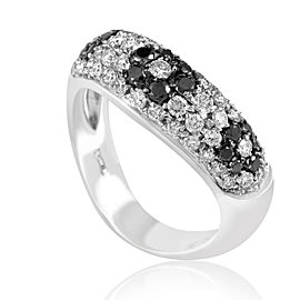 Lani Fratelli 18K White Gold 1.17ct Black & White Diamond Flower Ring Sz 7