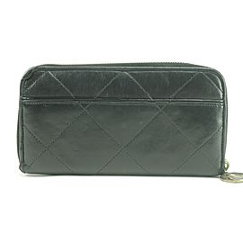 Lanvin Quilted Long Zippy Wallet Black Leather Zip Around Clutch