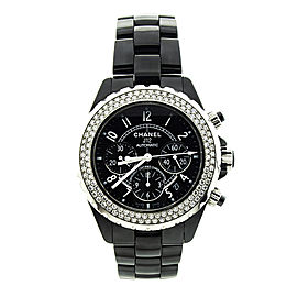 Chanel J12 Black Ceramic Chronograph Diamond Bezel Watch