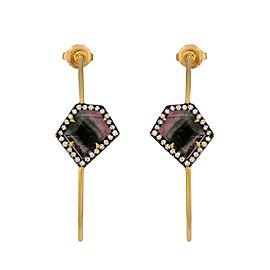 Yellow gold tourmaline and diamond hoops