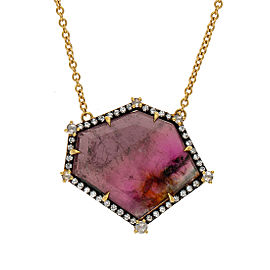 Yellow gold limited edition tourmaline and diamond necklace