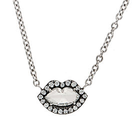 White gold diamond lip necklace