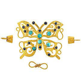 18k Yellow Gold Turquoise Diamond Bracelet