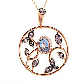 LeVian 14K Rose Gold Aquamarine and Diamond Leaf Pendant Necklace