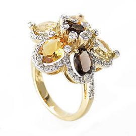 LeVian 14K Yellow Gold Smoky Topaz Citrine Flower Ring