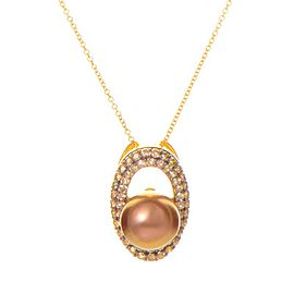 LeVian 14K Yellow Gold Brown Pearl and Diamond Pendant Necklace