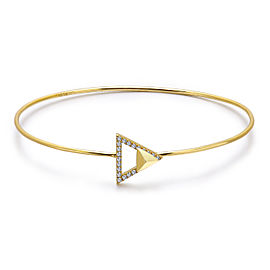 14k Yellow Gold Diamond Triangle Stud Bangle