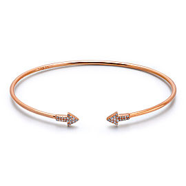 14k Rose Gold Diamond Arrow Bangle
