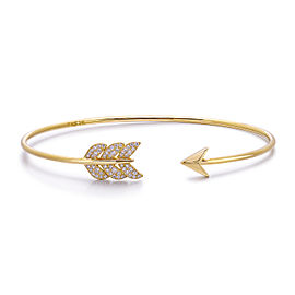 14k Yellow Gold Diamond Feather Arrow Bangle