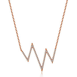 14k Rose Gold Diamond Heartbeat Necklace