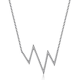14k White Gold Diamond Heartbeat Necklace