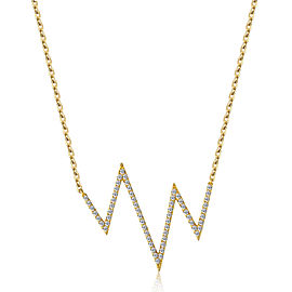 14k Yellow Gold Diamond Heartbeat Necklace