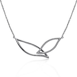 14k White Gold Diamond Petal Necklace