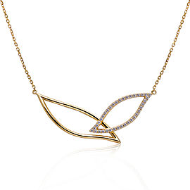 14k Yellow Gold Diamond Petal Necklace